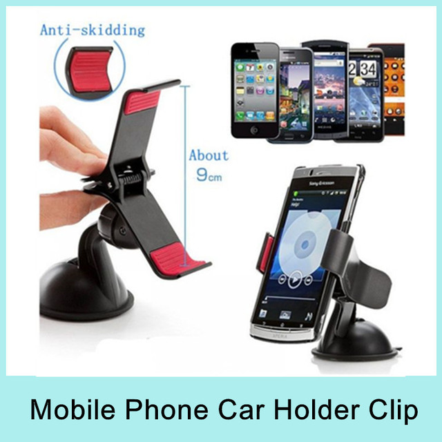 Car Phone Holder Mount Stand Sucker Clip for Mobile Phone MP4 Camera Cup Card Black White Universal Adjustable Bracket New 2014
