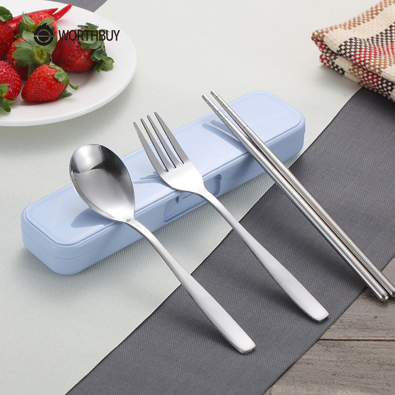 WORTHBUY Hot Sale Chinese Stainless Steel Kids Dinnerware Set Portable Travel School Children Tableware Picnic Cutlery Set