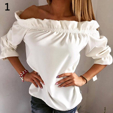 New Arrival Fashion Sexy Women Lady Lotus Leaf Collar Top Party Off Shoulder Shirt Blouse