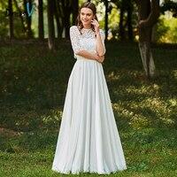Dressv Long Wedding Dresses Jewel Neck Half Sleeves Button Lace A Line Flowers Elegant Church Garden