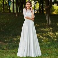 Dressv כפתור ארוך שמלות כלה תכשיט צוואר חצי שרוולי תחרת קו שמלות חתונה מותאמת אישית כנסיית גן פרחים אלגנטי