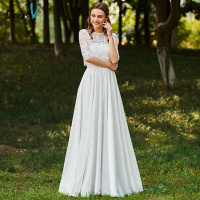 Dressv Long Wedding Dresses Jewel Neck Half Sleeves Button Lace A Line Flowers Elegant Church Garden