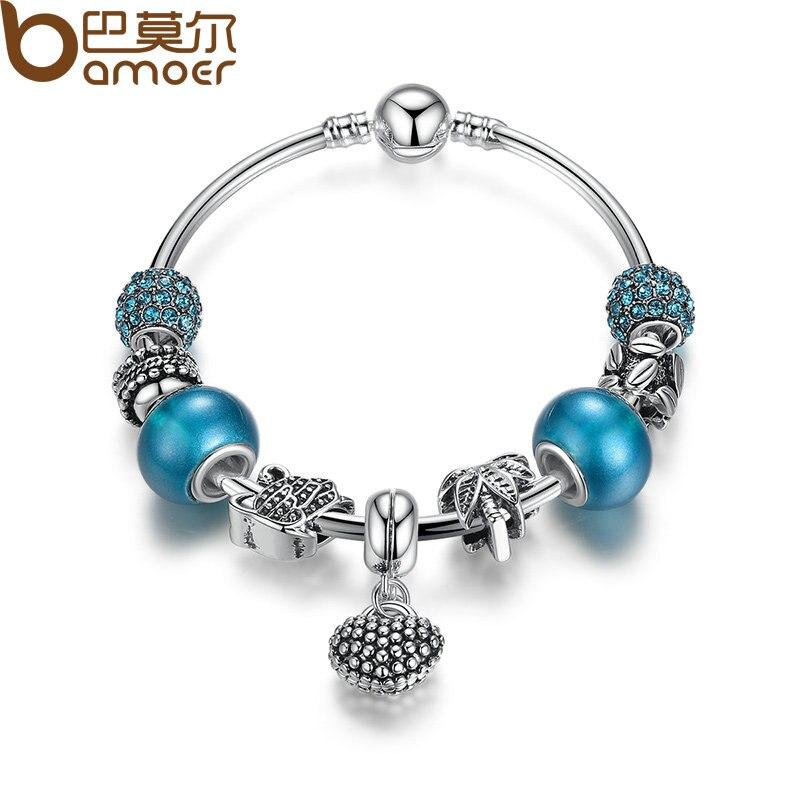 Blue Charm Bracelet: Aliexpress.com : Buy BAMOER Silver Mother Son Charm