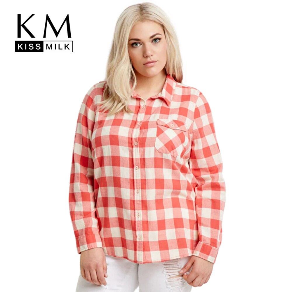 Kissmilk Плюс Размер Мода Женская Одежда Основные Опрятный Стиль Карман топы Уличная Длинным Рукавом Большой Размер Блузка 3XL 4XL 5XL 6XL