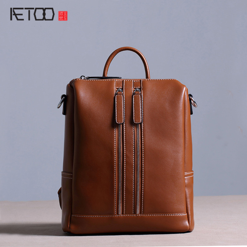 ФОТО AETOO New leather backpack female shoulder bag kraft Korean simple leisure fashion trend dual zipper backpack