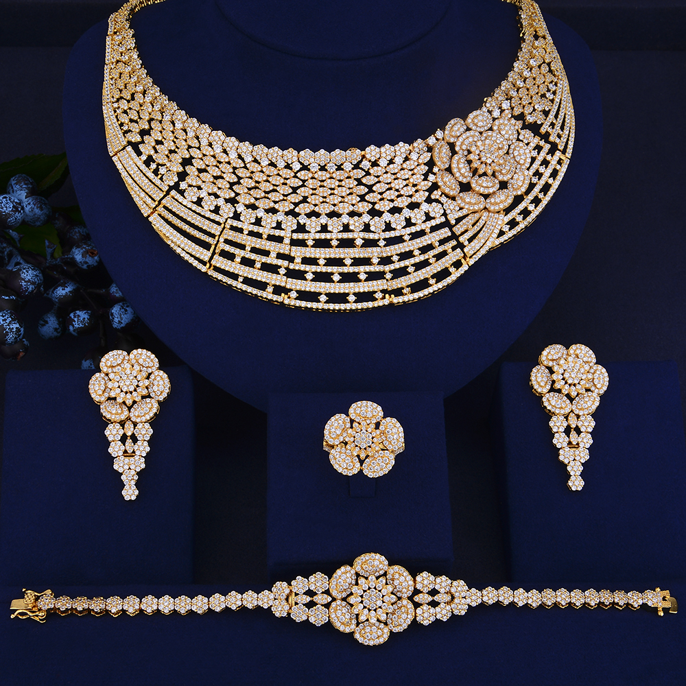 Deluxe Flower Shape dubai gold jewelry sets for women CZ Big Collar Necklace Earrings Bracelet Ring Set ensemble bijoux a suit of gorgeous rhinestoned flower necklace bracelet earrings and ring for women