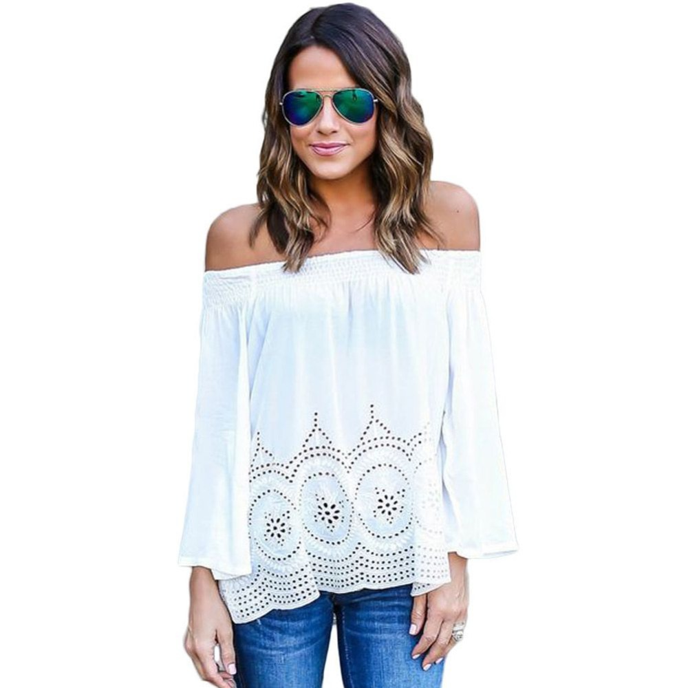 Off Shoulder Top Female sexy Tops Blouses Shirts Summer Beach Blouse Chemise 053