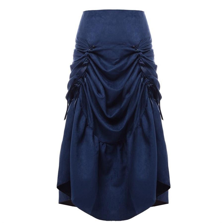 빈티지 steampunk 치마 여성 블랙 브라운 고딕 락 파티 max fishtail ruffled skirts victorian costume-에서스커트부터 여성 의류 의  그룹 1