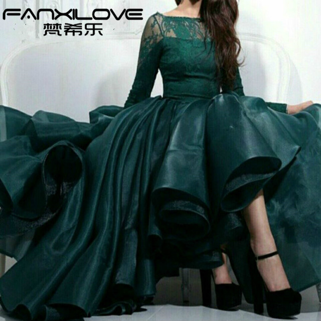 Fanxilove Arabic evening dresses plus size long sleeve lace prom dress  short homecoming dresses emerald green Organza d081188b502d