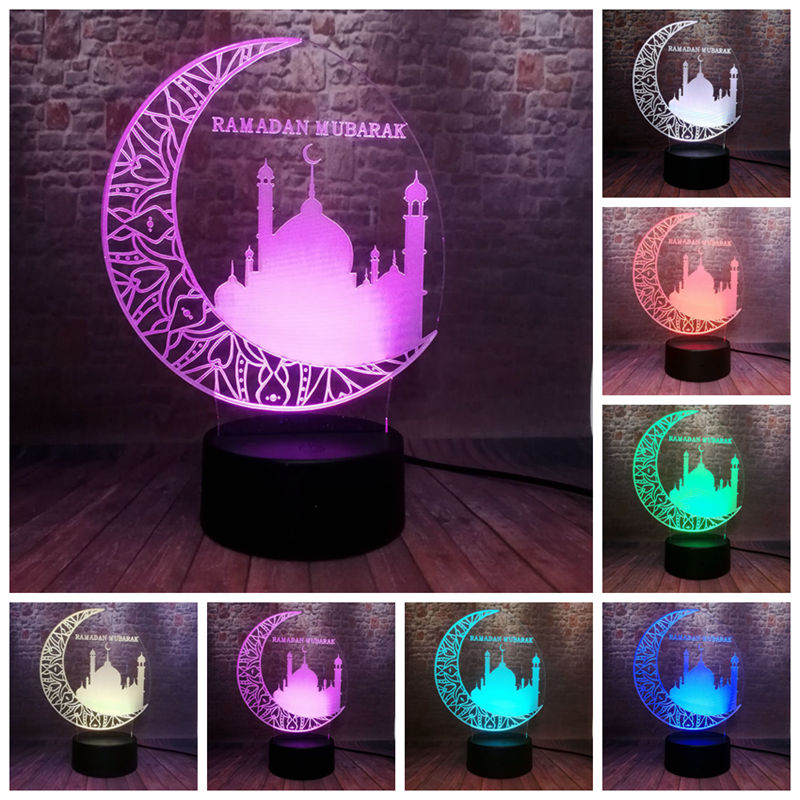 Islamic Ramadan Mubarak Model 3D Illusion LED Nightlight Colourful Light Eid Mubarak Party Decor ToysIslamic Ramadan Mubarak Model 3D Illusion LED Nightlight Colourful Light Eid Mubarak Party Decor Toys