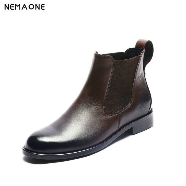 NEMAONE Women Genuine Leather Boots Brogue Carved Ankle Boots Fashion Chelsea Low Heels Ladies Booties Spring 2019 Ladies Shoes