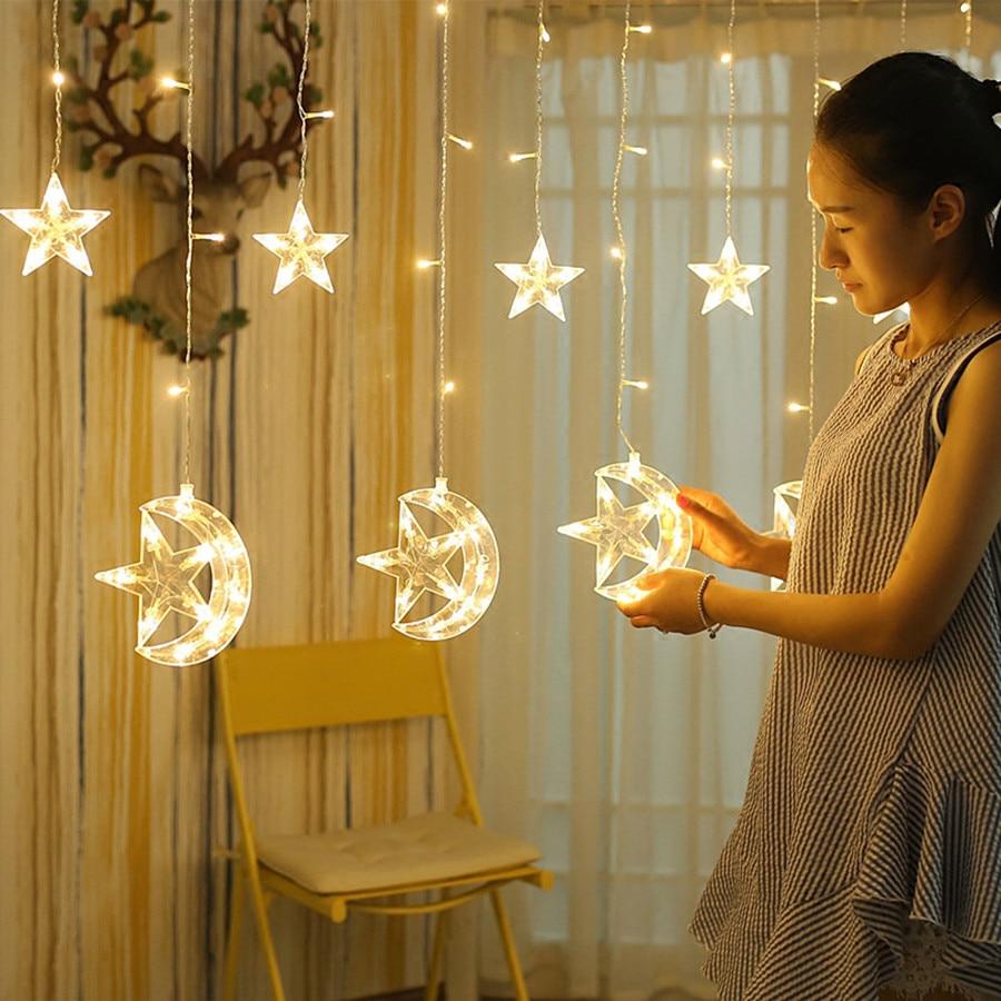 Thrisdar 2.5M 138LED Moon Star Curtain Icicle Fairy String Light Christmas Window Curtains Party Ramadan Holiday Wedding Decor christmas moon santa sleigh print waterproof fabric shower curtain
