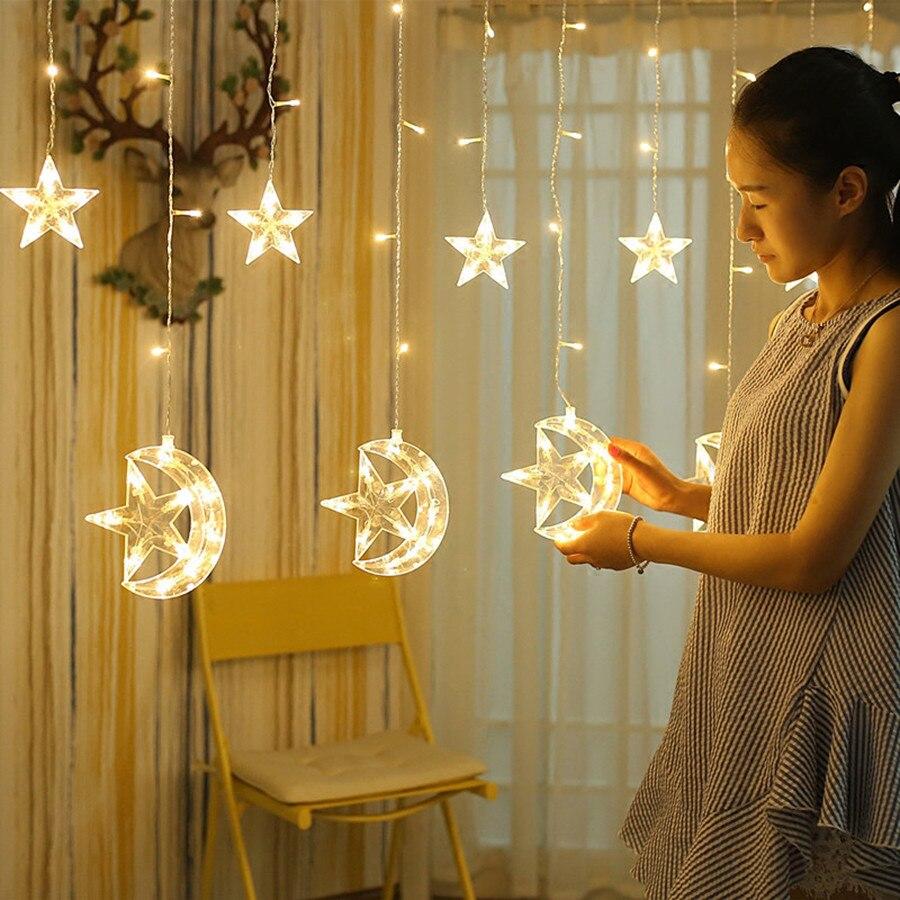 Thrisdar 2.5M 138LED Moon Star Curtain Icicle Fairy String Light Christmas Window Curtains Party Ramadan Holiday Wedding Decor