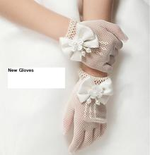 1 Pair Girls Kids White Lace Faux Pearl Fishnet Gloves Communion Flower Girl Bride Party Ceremony
