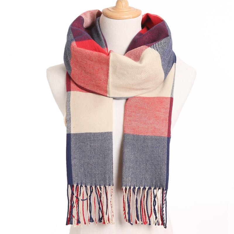 [VIANOSI] клетчатый зимний шарф женский тёплый платок одноцветные шарфы модные шарфы на каждый день кашемировые шарфы - Цвет: 09