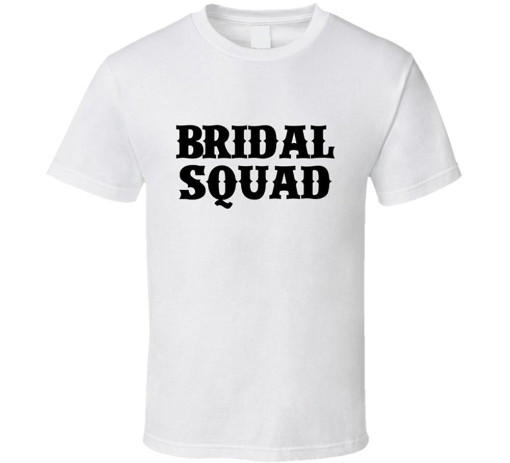 Bridal squad tee funny wedding bachelorette wedding party for Novelty bride wedding dress t shirt