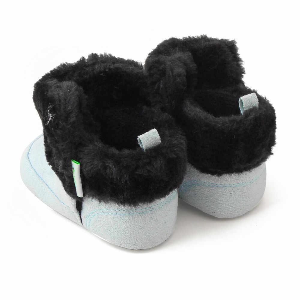 Recién Nacido chico Zapatos bebé caminantes bebé botas para niños niñas Arco-Nudo mantener caliente de lana de zapatillas de invierno