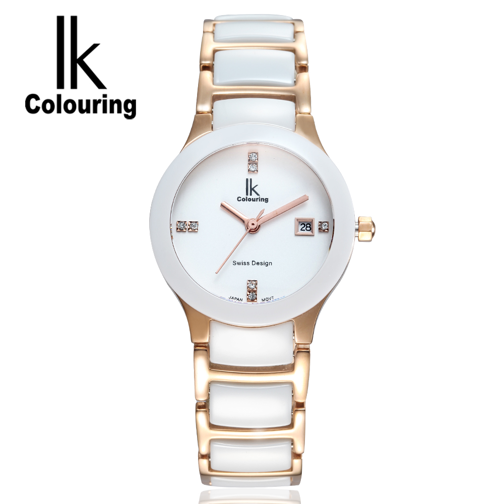 Luxury IK Women's Watch Relogio Feminino Day Quartz Crystal Ceramic Waterproof Watches Wristwatch Gift Box Free Ship