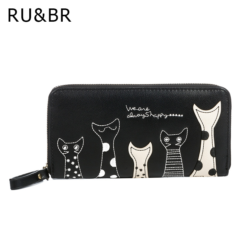 RU&BR New Cat Cartoon Printed Women Wallets Long Wallet Female Card Holder Casual Zipper Ladies Clutch PU Leather Coin Purse women long wallet cat zipper
