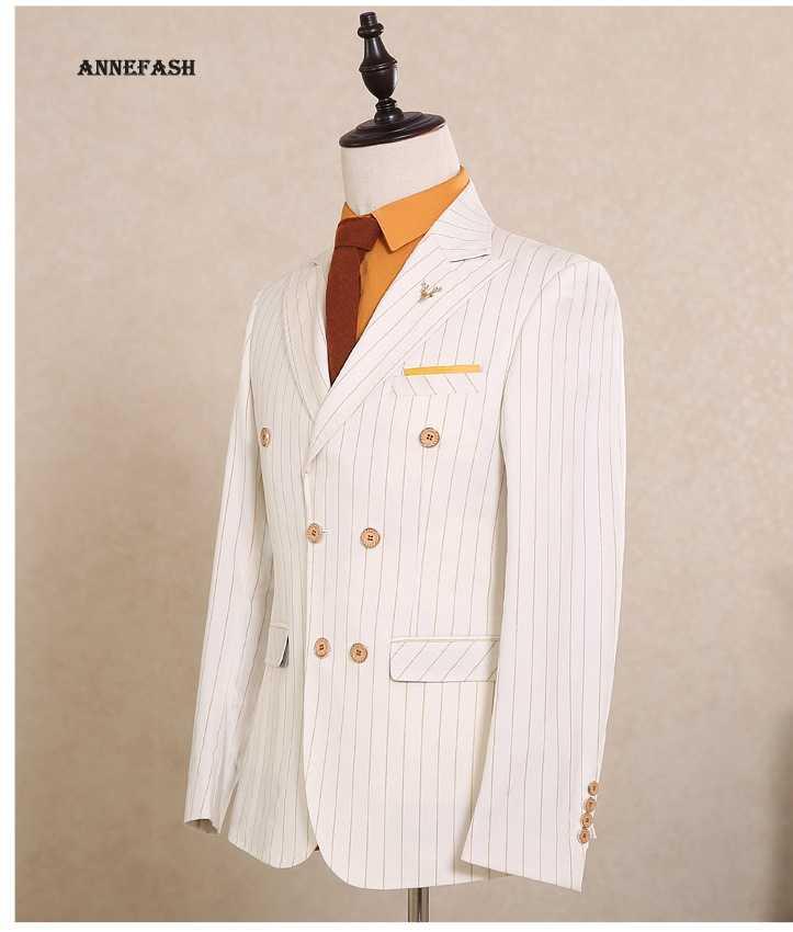 メンズダブルブレストスーツ2017イングランドスタイルカスタムメイドスリムフィットホワイトゴールドラインストライプ結婚式スーツ