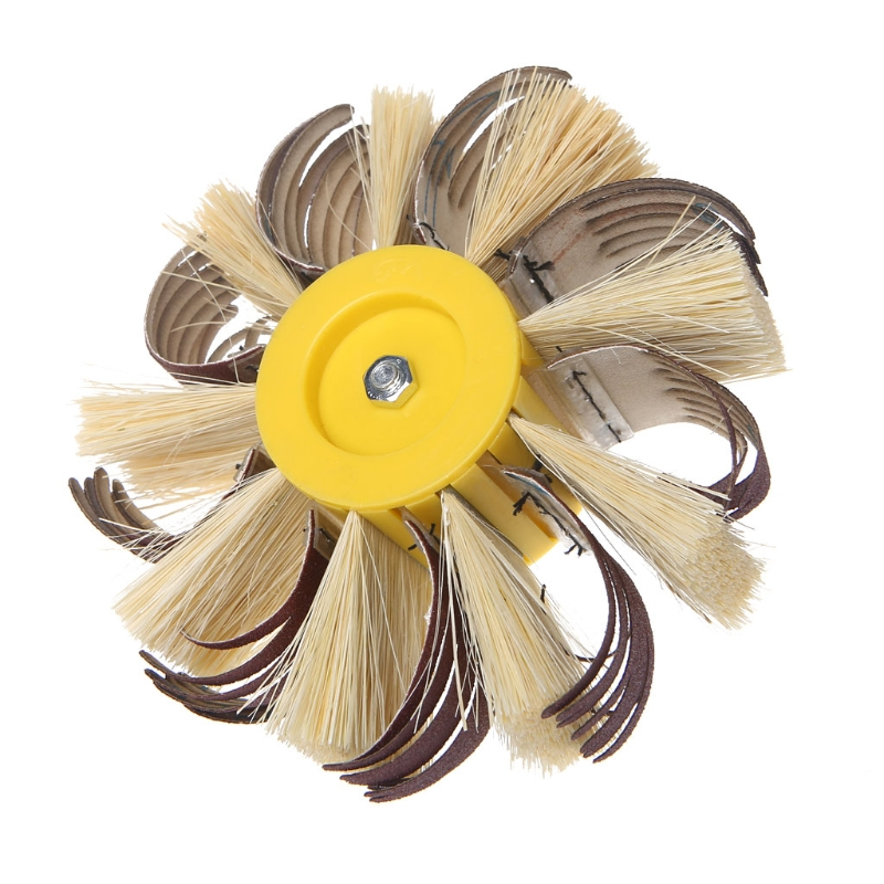 Shaft Mounted Sisal Emery Cloth Bristle Grinding Buffing Brush Polishing Wheel
