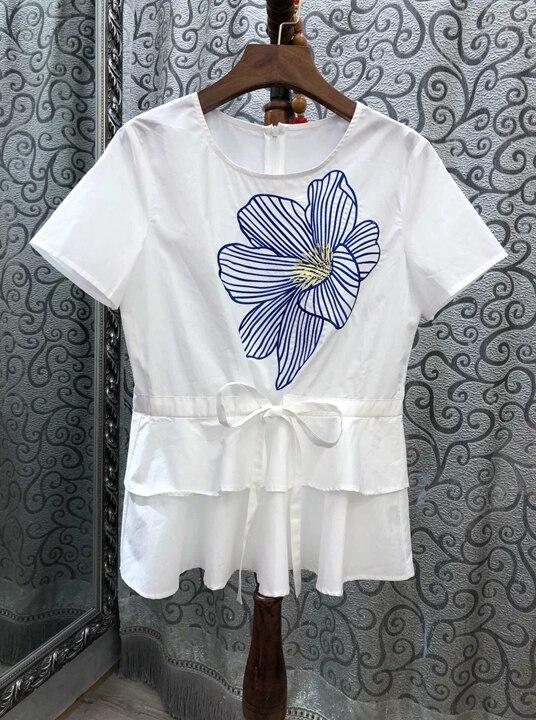 Lotus Et Nouvelles 2019 blanc Court Printemps Femmes Manches Avec Feuille D'été Robes Bord De Coloré 0316 Bleu ACwz5qn