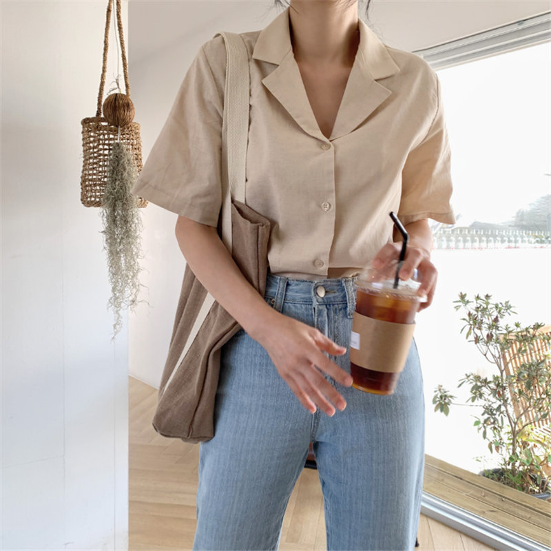 HziriP 2019 Casual Fresh Short-Sleeved Vintage Woman Fashion All Match Summer Brief Sweet Solid Single Breasted Shirt Tops