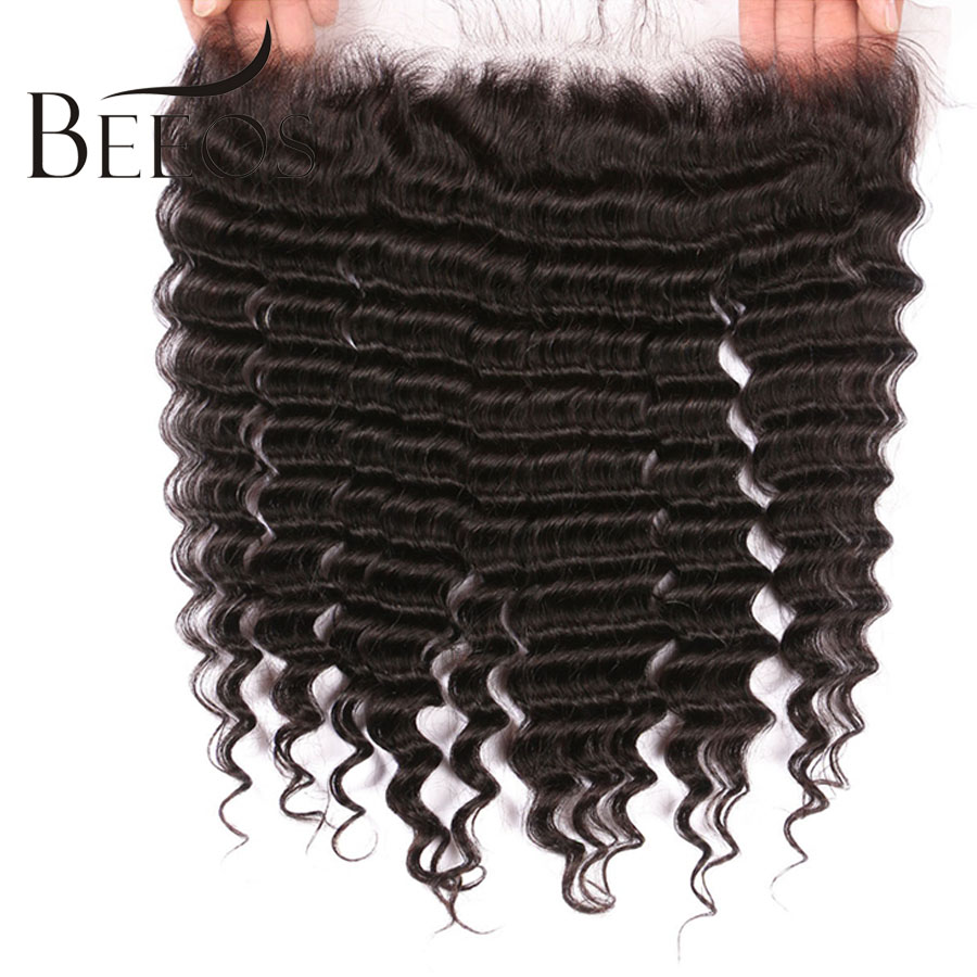 BEEOS Peruvian Deep Wave 13*4 Lace Frontal Remy Hair Pre Plucked Frontal Closure With Baby Hair Ear To Ear Swiss Lace