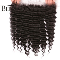 Beeos Peruvian Deep Wave 13 4 Lace Frontal Closure Remy Hair Pre Plucked With Baby Hair