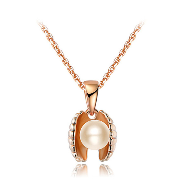 2016 NEW Fashion  Rose Gold Plated Simulated Pearl Sea Shell Pendant Necklaces For Women Party Jewelry 2030527091