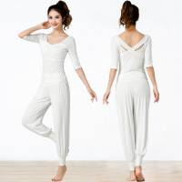 2019 Women Yoga sets Sexy professional sports gym Clothes jumpsuits suit Middle Sleeve cross backless female running yoga set