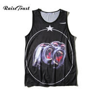 New Style Men Gyms Tank Top Fashion 3d Printing Animal Black Bodybuilding Clothing Men S Brand