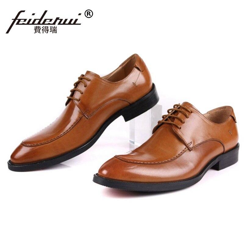 Kleid Derby Luxusmarke Echtem Leder Formale Oxfords Komfortable Designer Ih43 brown Mann Büro Schuhe Schwarzes Handgefertigte Männlichen Männer 5Fgwpwvx