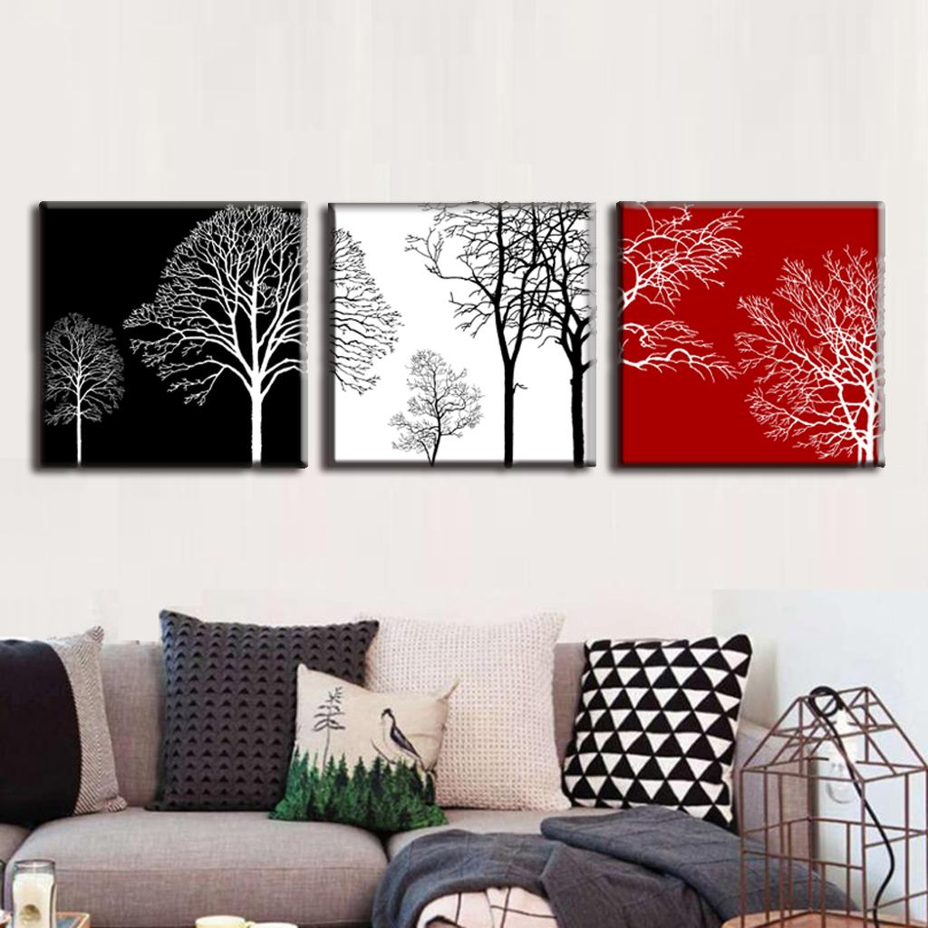discount framed painting 3 pcsset modern tress wall art canvas painting abstract black white red trees painting free shipping in painting calligraphy - Discount Framed Art