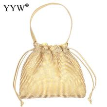 Gold Bucket Bag Women Rhinestone Handbags Totes Female Crystal Evening Party Clutch Handbag Silver Wedding Party Purse Hand Bags недорого
