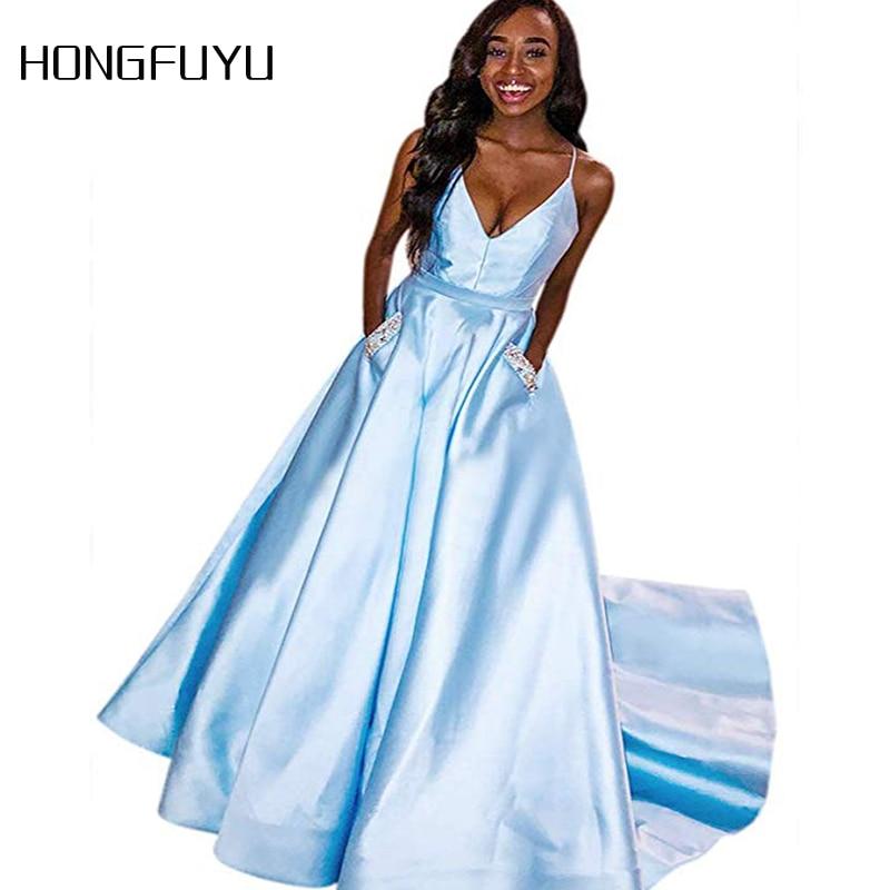 Reflective Dress Satin Beading V Neck Spaghetti Strap Long Evening Dress 2020 A Line Pockets Floor Length Evening Dress SML1041