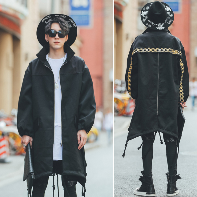 Hot New 2019 Men's clothing fashion Nightclub personality Korean version is loose Zipper decoration Medium length fund wind coat