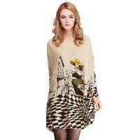 Dünne Frauen Pullover Plus Größe 6XL 7XL 8XL 9XL 2017 herbst Winter Langarm Strick Weiß Plaid Print Oversize Weibliche jumper