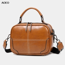 AOEO Pure Premium Split Leather Women handle Bags With Gun Black Plating Zippers Red Handbags Ladies Shoulder Bag