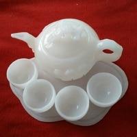 Chinese Natural jade ornaments Afghanistan white jade tea teapot wine