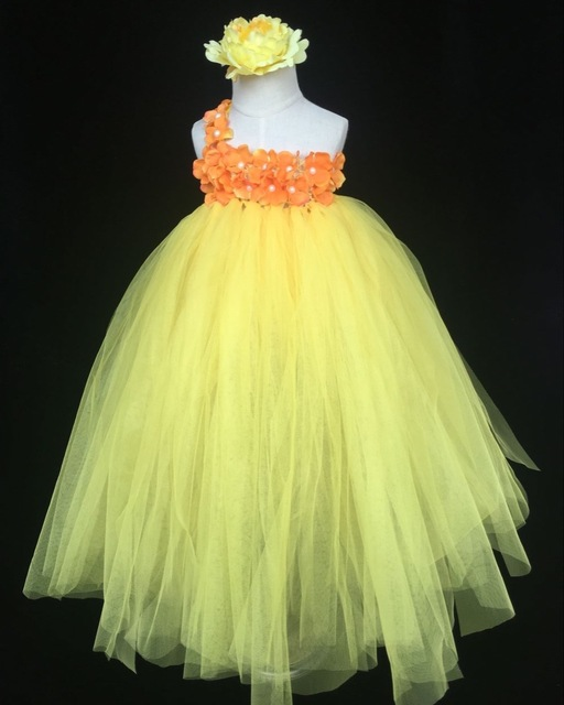 e79b79e56de82 US $12.98 |Girls Yellow Crochet Tutu Dress Baby Fluffy Tulle Dress Single  Shoulder Ball Gown with Flower Headband Kids Costume Party Dress-in Dresses  ...