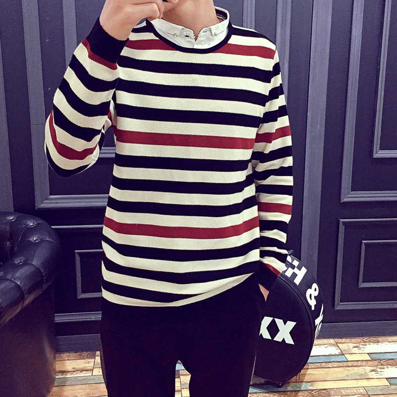 New Arrive stripe color red white and black long sleeve sweater ...