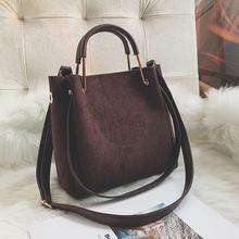 410777fbcad2 2019 винтажная женская сумка на плечо Женская Роскошная замшевая кожаная  сумка-мессенджер женская сумка через