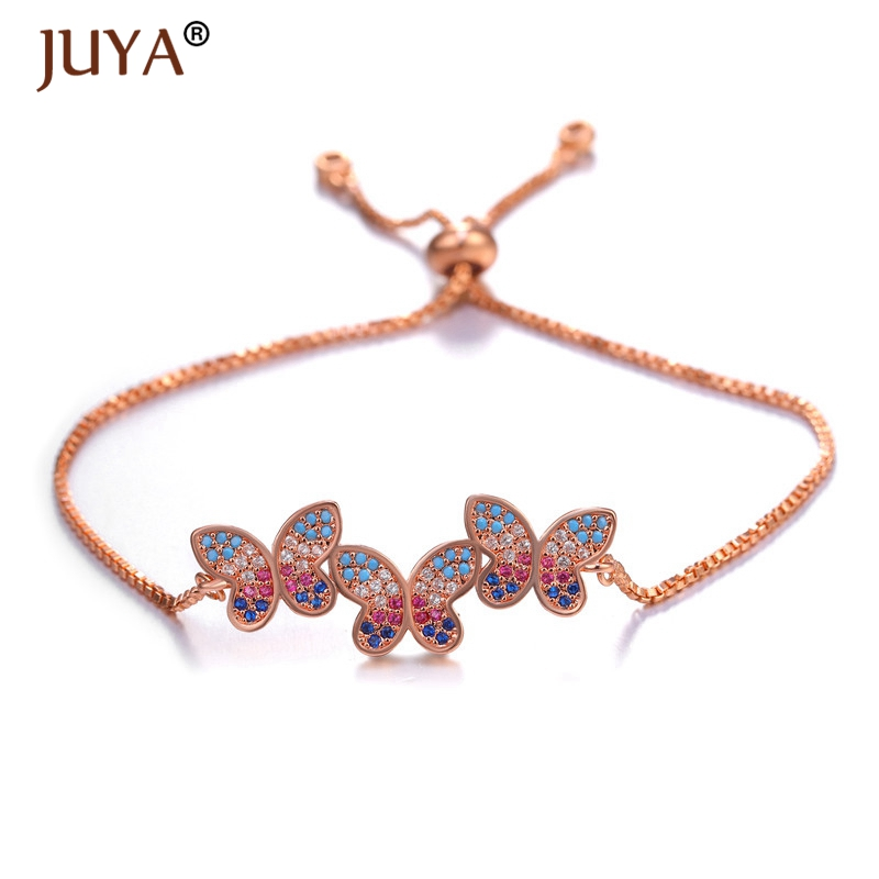 Juya Boho Romantic Color Cubic Zirconia Crystal CZ Butterfly Bracelets for Women in Silver Gold Rose Adjustable Chain