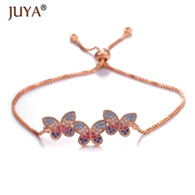 Juya Boho Romantic Color Cubic Zirconia Crystal CZ Butterfly Bracelets for Women in Silver Gold Rose Gold Color Adjustable Chain