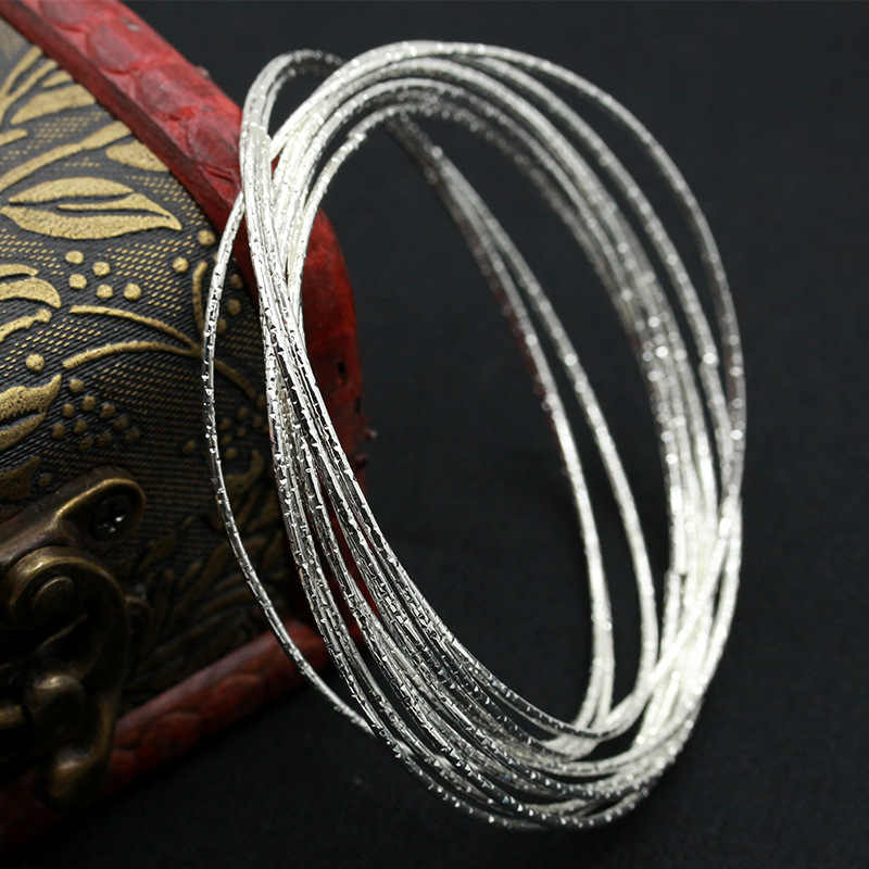 Multilayer Silver Plated Indian Bangles Set Women Simple Cuff Bracelet Ladies Fashion Charm Jewelry Accessories