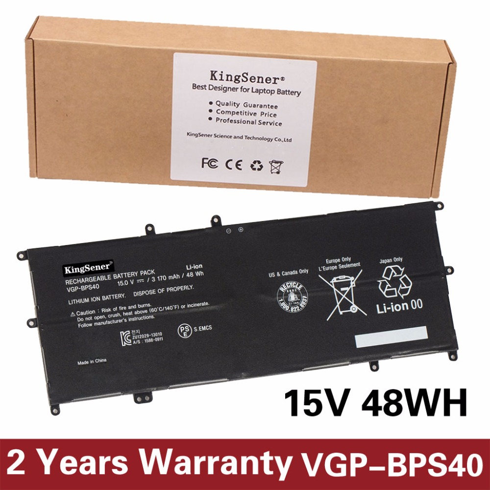 15V 3170mAh KingSener VGP-BPS40 Laptop Battery For SONY Vaio Flip 14A SVF14N SVF 15A SVF15N17CXB VGP-BPS40 Free 2 Years Warranty new orig laptop case for sony svf14 svf14n series svf14na28t 4 svf14n palmrest