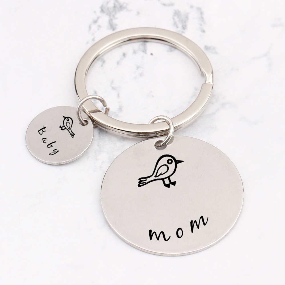 Ожерелье из нержавеющей стали детские птица брелоки Mother'sDay подарки семья родители брелок ключи держатель выражение любовь для мамы сумка Шарм драйвер