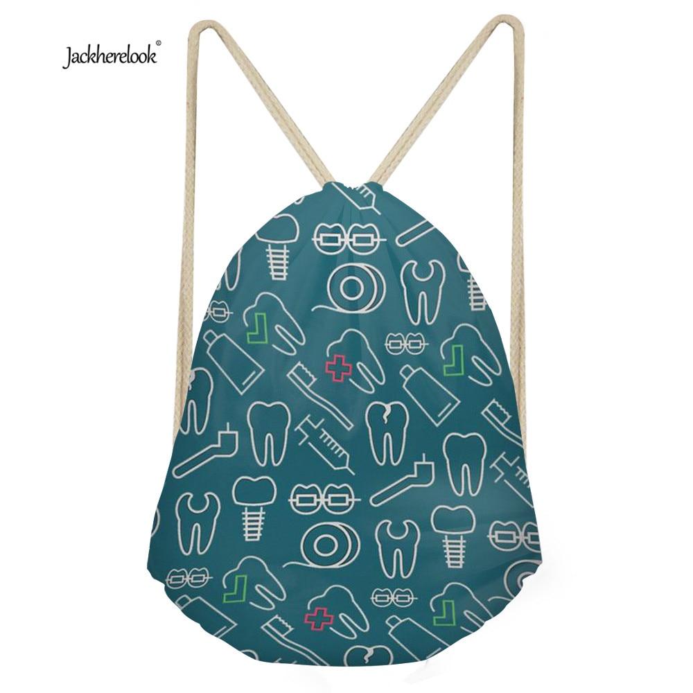 Jackherelook Drawstring Bags for Men Women Travel Small String Storage Shoulder Bags Dentist Print Kids Casual