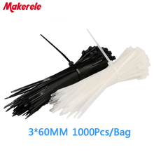 1.8*60mm 1000PCS/Bag white and black Practical Self-Locking Nylon Plastic Wire Cable Cord Zip Ties Strap